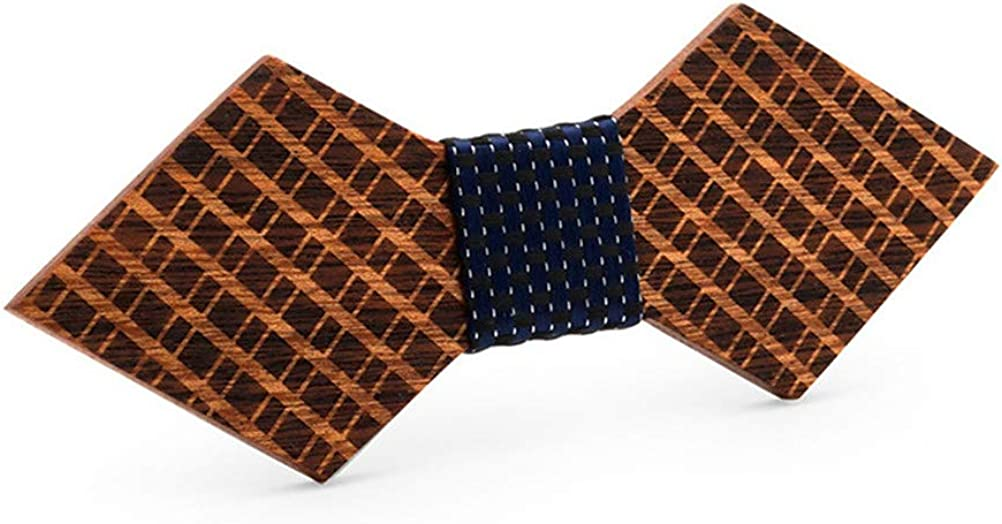 Drasawee Vintage Bowtie Handmade Customized Grid Wood Bow Tie Wedding Wooden BowTie
