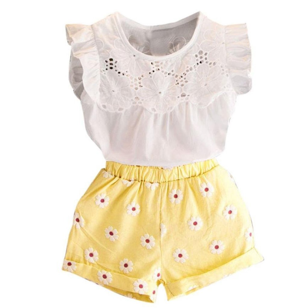 Toddler Kids Baby Girls Lace T-Shirt Tops Small Flower Shorts Pants Leisure Fashion Summer Outfit Sets (Yellow, 110/4T)