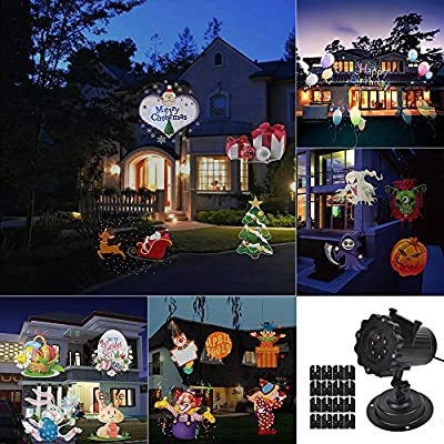 DAXGD Projector Lamp 16 Colorful Patterns Replaceable Lens Waterproof Spotlight Landscape Lamp for Christmas Valentine's Day Halloween Holiday Birthday Party Wedding Garden Decoration