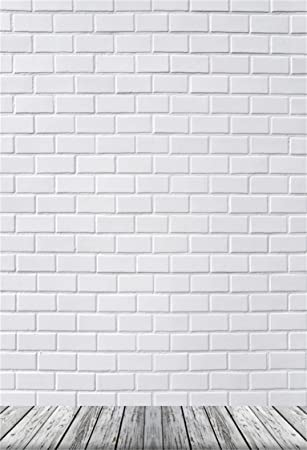 Aofoto 3x5ft White Brick Wall Photography Background Old Wooden Floor Backdrop Adult Kid Boy Girl Baby Man Woman Artistic Portrait Photoshoot Studio Props Video Drape Wallpaper Camera Photo