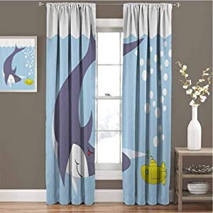 GUUVOR Yellow Submarine Premium Blackout Curtains Shark with Vessel in Ocean Bubbles Under The Sea Theme Animals Cartoon Kindergarten Noise Reduction Curtains W72 x L72 Inch Blue Gray Yellow