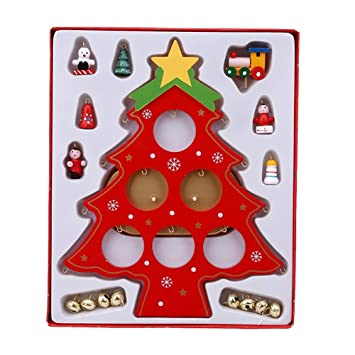 Christmas Tree Desktop Decorations Wooden Hanging Ornaments Holiday