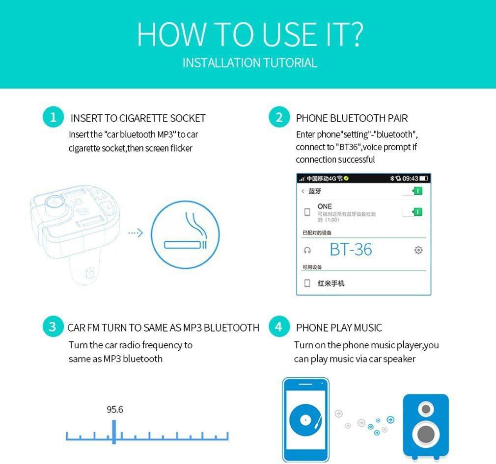 Chargeur de Voiture Universel avec Deux Ports de Chargement USB XZANTE BT36 Voiture Lecteur mp3 Voiture Transmetteur FM Radio Adaptateur Voiture Kit
