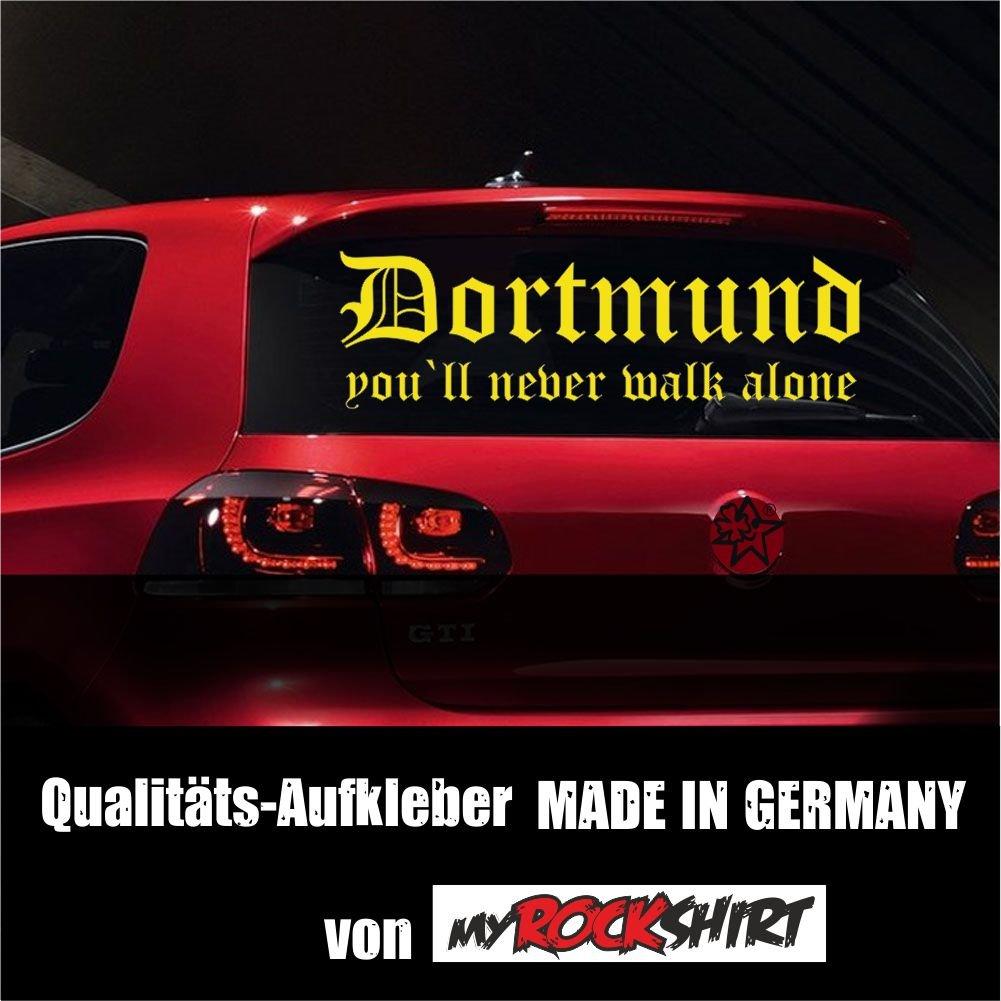 "Super-Chicer Dortmund Fussball-Fan You`ll never walk alone Aufkleber Sticker XXL in 80x20 cm mit Montage Set inkl Estrellina-Montage-Rakel/® /& /""Estrellina-Gl/ücksaufkleber/®/"" Fussballfan Fussballer Liga Dortmunder"