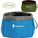 Awakelion Collapsible Dog Bowl 2 Pack , Portable Travel Pet Bowl For Food And Water -Perfect for Medium & Large Dog (2000ML)