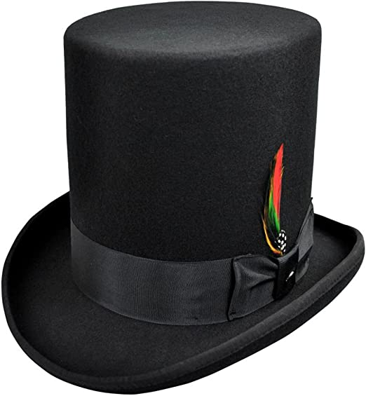 """100/% Wool 8/"""" Tall Satin Lined High Top Lincoln Victorian Hat With Feather"""