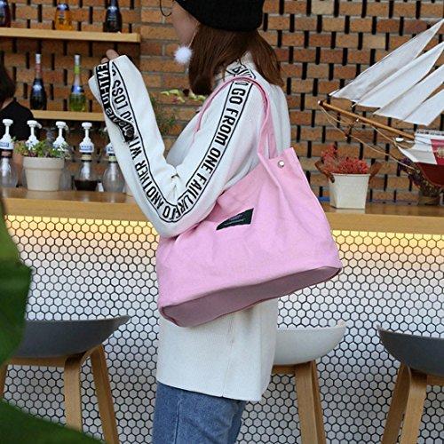 Niña Shoppers de de Hombro Grande ESAILQ Negro para Rosa Baratos y Mujer Lona Bolsos V Bandolera OqAFAU