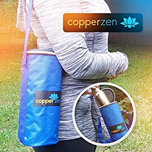 CopperZen Copper Water Bottle with Insulated Travel Bag and Adjustable Strap - Blue