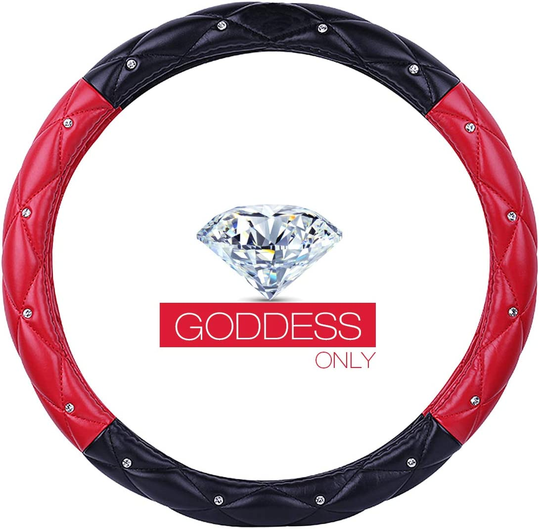 Ladies Car Steering Wheel Cover with Diamond Lattice Girly Classy Fashion Collection Car Steering Wheel Cover with Crown and Diamonds Queen ONLY A - Red /& Black