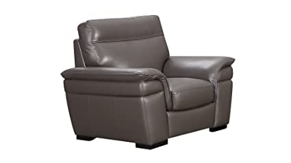 American Eagle Furniture Michigan Collection Contemporary Italian Leather Living Room Chair With Pillow Top Armrests