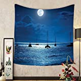 Gzhihine Custom tapestry Ambesonne Ocean Decor Collection Dramatic Photo of A Nighttime Sky Full Moon over A Calm Ocean Scene in Maui Hawaii Bedroom Living Room Dorm Tapestry Navy White