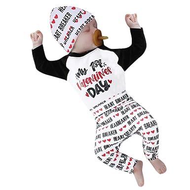 cf27ad377d56 Amazon.com  Sameno Newborn Infant Baby Boy Girl Letter Romper Tops ...