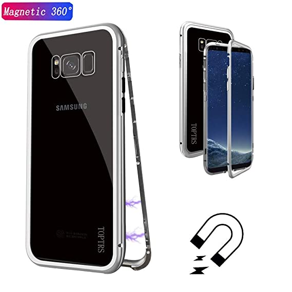 Magnetic Adsorption Cases for Galaxy Note 9, TOPTRS Ultra Slim Shockproof Metal Frame Build-in Magnet + Tempered Glass Back Case Cover for Galaxy Note ...