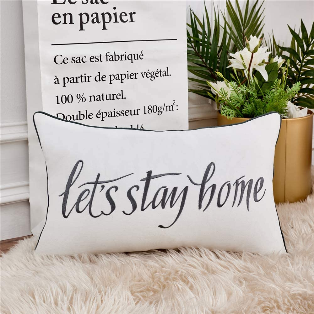 Sanmetex Farmhouse Decorative Lumbar Pillow Cover Quote Let's Stay Home Throw Pillowcase 12 x 20 Inch for Decro Livingroom, Bedroom, Sofa,Couch Grey.