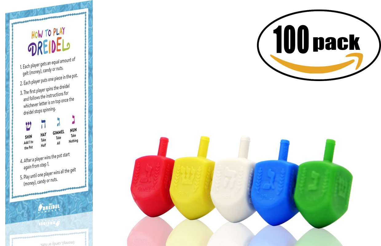 Dreidels Bulk Pack Multi-Color Plastic Draydels - With Dreidel Game Instructions (100-Pack)