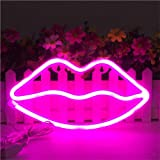 Lip Shaped Neon Signs Led Neon Light Art Decorative Lights Wall Decor for Children Baby Room Christmas Wedding Party Decoration (Pink)