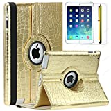 SAVEICON (TM) Gold Crocodile Skin for iPad Mini / iPad Mini Retina / iPad Mini 3 3rd Gen (Released 2014) 360 Degrees Swivel Rotating PU Leather Case Smart Cover for New iPad Mini 7.9 Inch Wifi 3G 4G LTE with Stand and Sleep/Wake Function Built-in Magnetic + Stylus, Screen Protector and LCD Cleaner