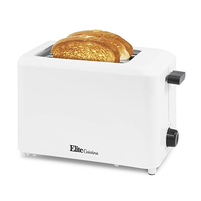 """Elite Cuisine ECT-1027 Cool Touch Toaster with Extra Wide 1.25"""" Slots for Bagels and Specialty Breads, 2 Slices, Black"""