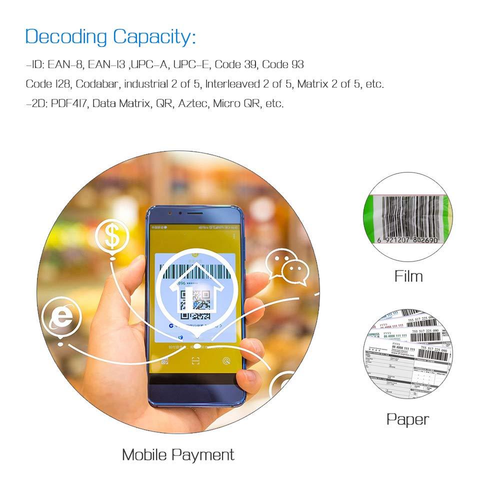 Docooler Scanner de code /à barres portable Lecteur de code /à barres rechargeable Scanner pour supermarch/é Scanner caisse enregistreuse