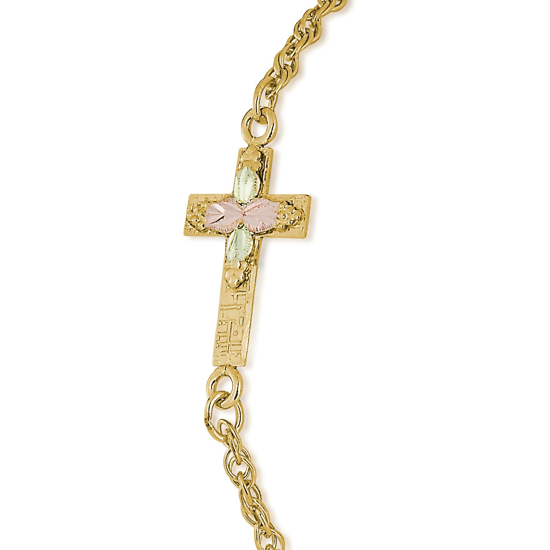 Sideways Cross Bracelet, 10k Yellow Gold, 12k Green and Rose Gold Black Hills Gold Motif, 7.25''