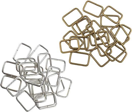 20Pcs Metal Square Buckle Bag Strap Connector Webbing Rings For DIY Bag Purse