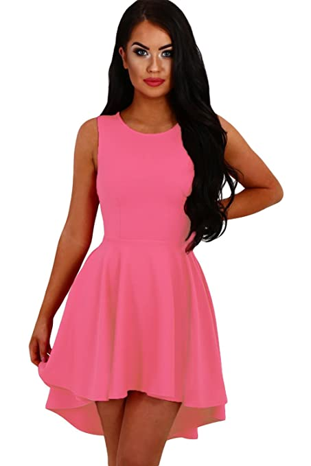 New Woman\'s Rosy Pink Up Down Hemline Skater Dress Prom Dress ...