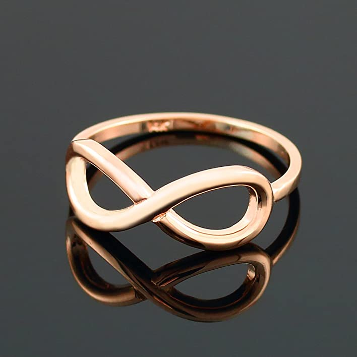 Amazon High Polish 14k Rose Gold Infinity Ring for Women Jewelry