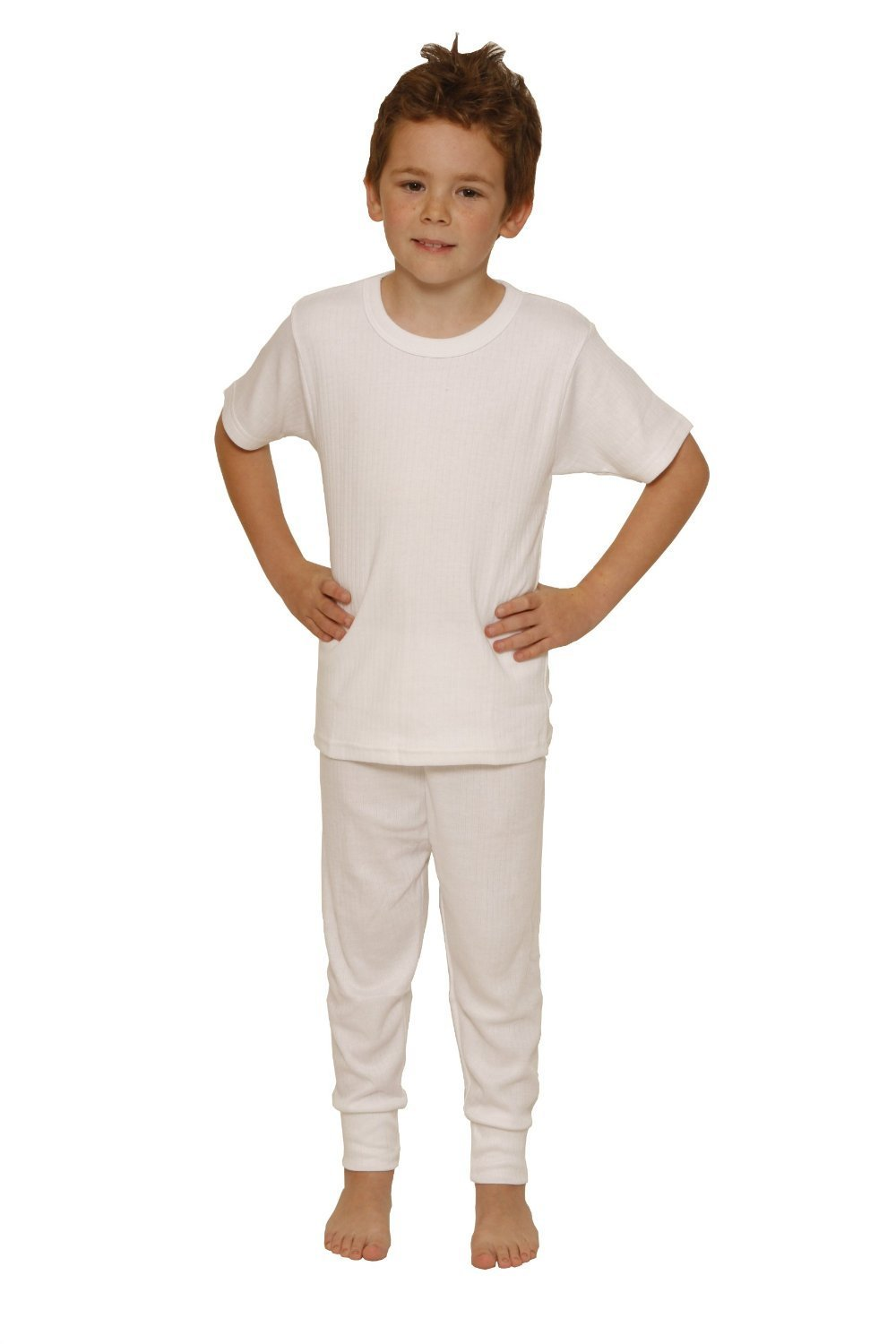 OCTAVE® Boys Thermal Underwear Set : Short Sleeve Vest and Long Pants