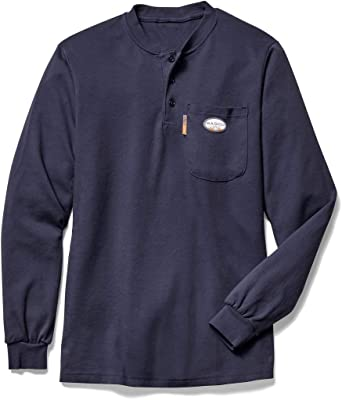 Khaki S-6X Mens FR Flame Resistant Shirt Crew Neck Long Sleeve Button Gray Navy