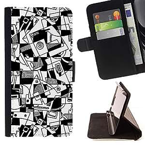 For HTC One M7 Case , Arte Líneas Hand Drawn Blanco Negro- la tarjeta de Crédito Slots PU Funda de cuero Monedero caso cubierta de piel