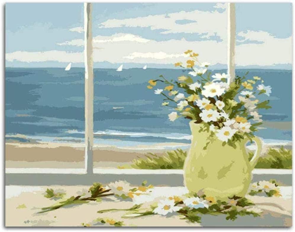 Margaritas blancas flores cuadros pintados a mano pintura al óleo de la lona de bricolaje por números para regalo único decoración del hogar 40x50cm sin marco