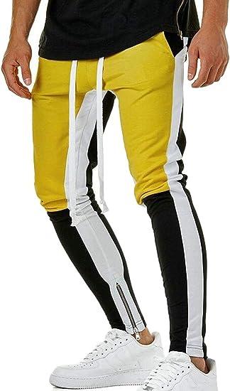 Mens Taped Stripe Track Pants Skinny Fit Stretch Trouser Elastic Jogger