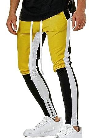 ShuangRun Pantalones de chándal elásticos, Ajustados, para Hombre ...