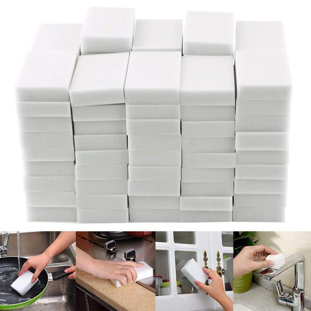 TelDen 50 Pcs Magic Cleaning Sponges Eraser, Household Sponge Eraser Cleaner Foam Cleaning for Kitchen, Furniture, Car, Leather