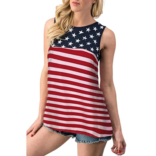 8d371fd7ef4 Franterd Women American Flag Vest - 4th of July Patriotic USA Flag Stripe  Stars T Shirt Tank Top Blouse at Amazon Women s Clothing store
