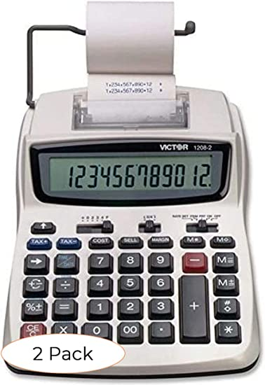 Victor Printing Calculator, 1208-2 Compact and Reliable Adding Machine with 12 Digit LCD Display, Battery or AC Powered, Includes Adapter (Twо Расk)