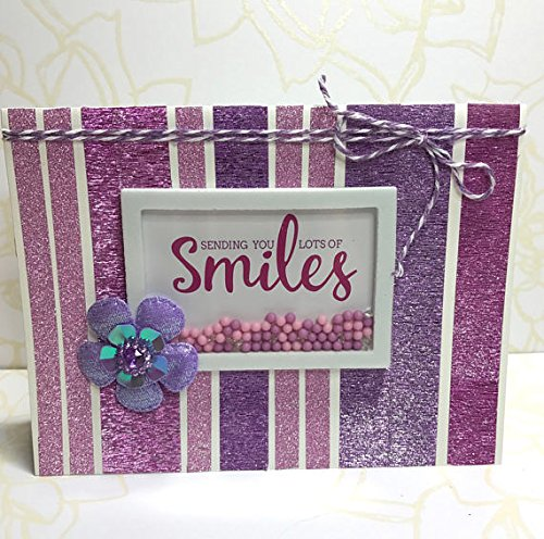 Smile Purple Glimmer Washi Tape Shaker Card for Any Occasion, Just Because