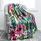 "Jekeno Cactus and Flower Soft Throw Blanket Smooth Blanket for Sofa Chair Bed Office 50""x60"""
