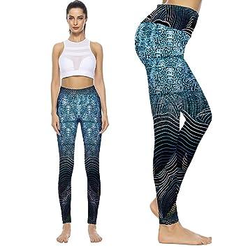 FANGNVREN Pantalones De Yoga,Cintura Alta Puntos Impresos ...
