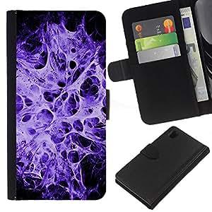 KingStore / Leather Etui en cuir / Sony Xperia Z1 L39 / Explosión Web Purple