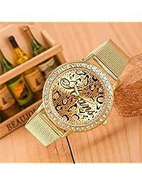 HUANS Fashion Women Crystal Rhinestone Golden Stainless Steel Band Quartz Watch