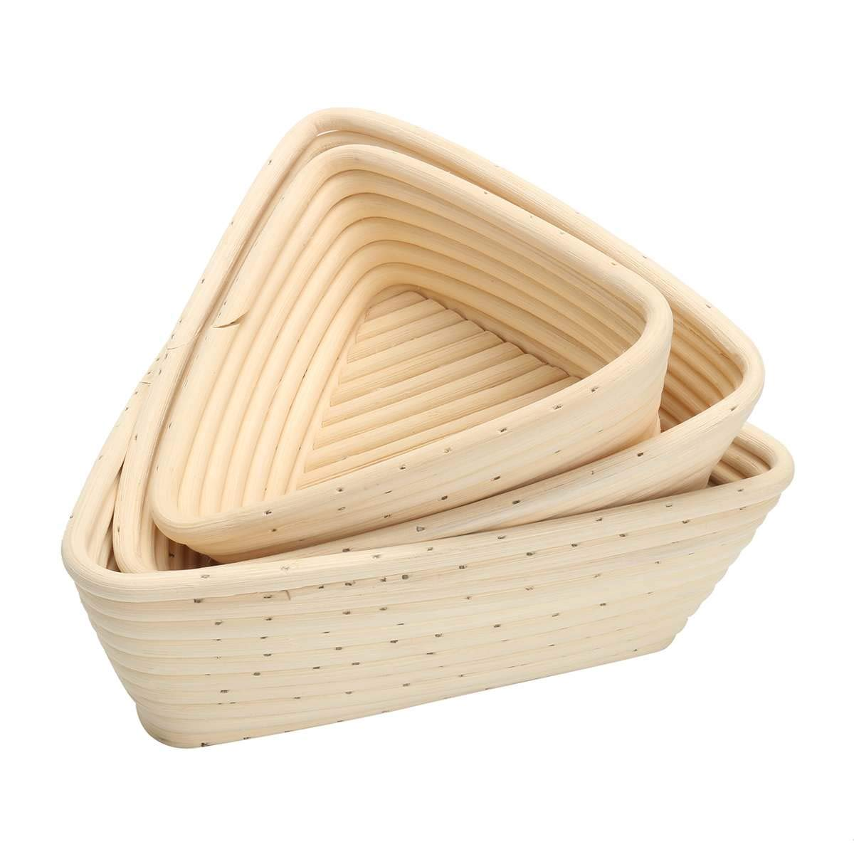 Best Quality - Baking & Pastry Tools - Size Triangle Dough Fermentation Rattan Basket Banneton Brotform Bread Proofing Proving Basket Bread Rattan Basket With Bag - by Tini - 1 PCs