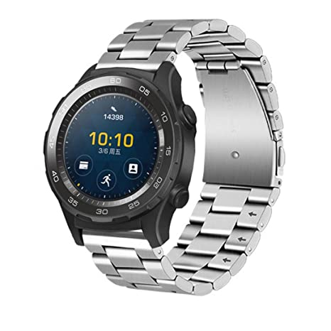 Malloom Huawei Watch 2 Correa, Genuina Pulsera de Acero Inoxidable Correa Banda para Huawei Watch 2 (Plata)