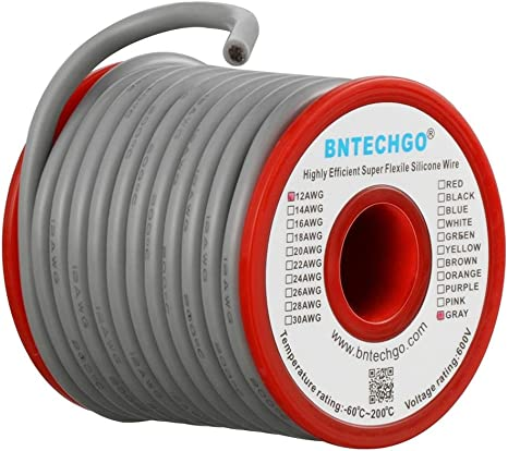 12 Gauge Flexible Silicone Wire Gray 25 feet 600V 200 deg C Tinned Copper Wire