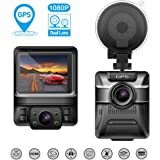 Car Driving Recorders, Beawelle Dash Cam Dual Lens Full HD 1080P Driving Video Recorder With GPS Dash Cam Front and Back with Night Version, G-sensor, Motion Detection, Parking monitor, Loop Recording