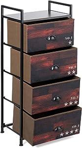 Tangkula 4 Drawer Fabric Dresser Storage Tower, Dresser Vertical Storage Tower with Steel Frame, Closet Storage, Wooden Look Organizer Unit for Bedroom, Closet, Entryway, Hallway (Dark-Brown)