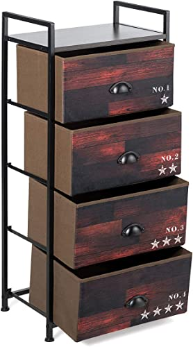Tangkula 4 Drawer Fabric Dresser Storage Tower