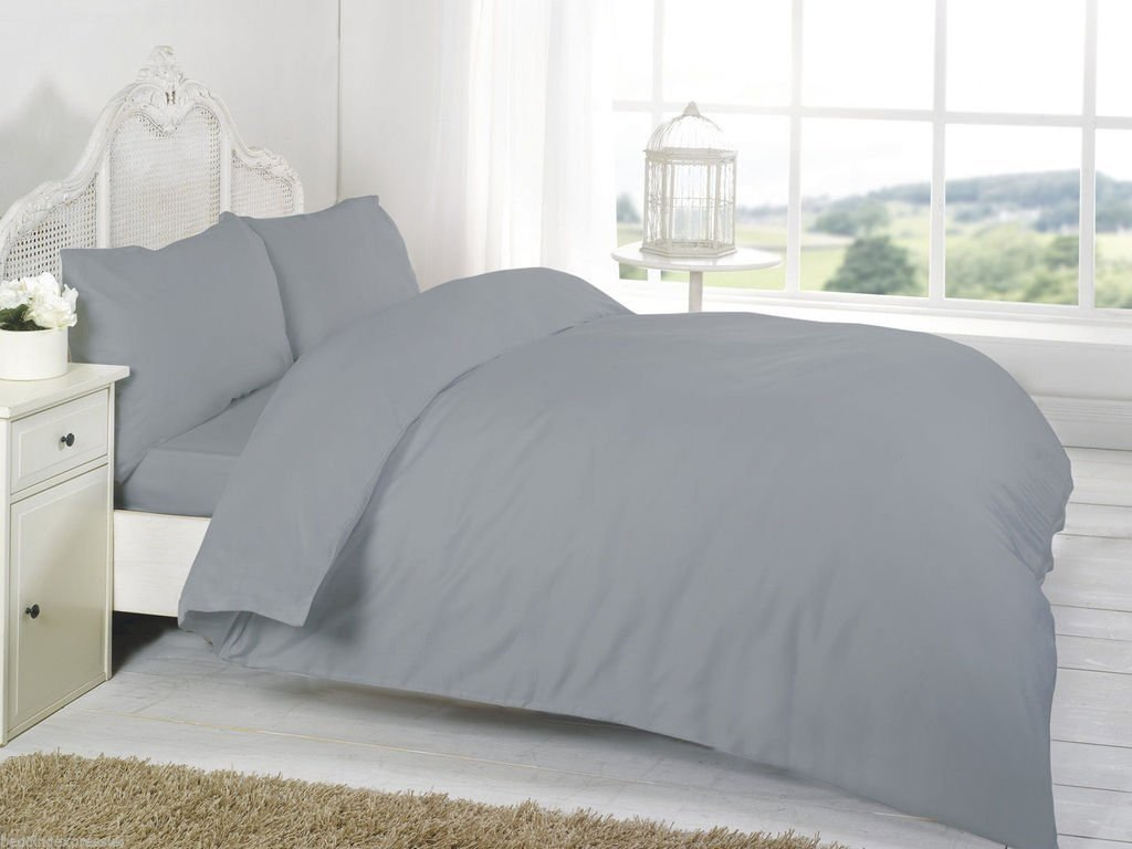 LinenTown 600-Thread-Count Egyptian Cotton Duvet Cover Set - Twin/Twin-XL, Silver Grey Solid