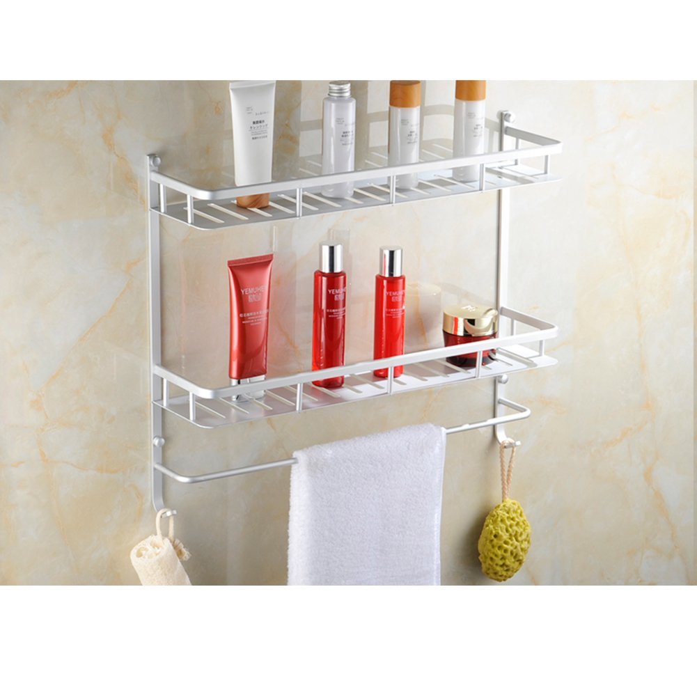 Hot Sale 2017 Space Aluminum Bathroom Storage Rack Towel Shelf Vanity Bathroom Shelf Wall