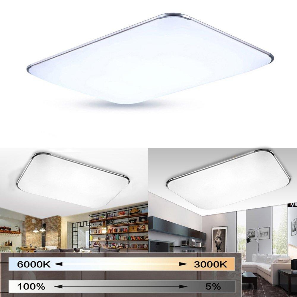 MYHOO 72W Moderno LED Regulable Ultraslim Lámpara De Techo Pasillo Salón Cocina Dormitorio De La Lámpara Ahorro De Energía De Luz De Plata [Clase de ...